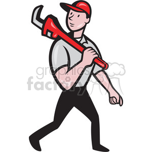 plumber monkey wrench walk clipart. Royalty-free image # 388106