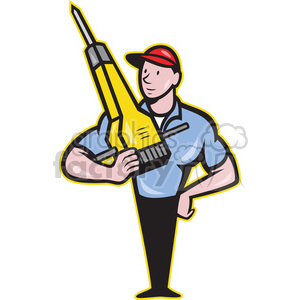 construction worker jackhammer frnt clipart. Commercial use image # 388156