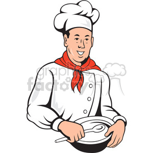 chef holding spoon and bowl front clipart. Commercial use image # 388176