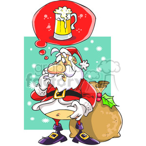 santa claus dreaming with a beer clipart. Royalty-free image # 388226