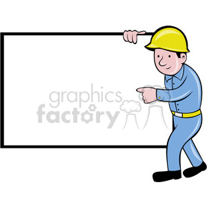 cartoon construction worker working career job labor foreman whiteboard blank sign