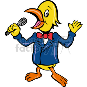 cartoon bird reporter speaker announcer