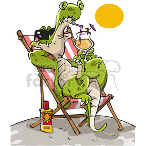 cartoon crocodile alligator relaxing beach drinking cocktail drink vacation summer lazy chillin
