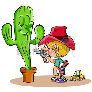 kid sticking up a cactus clipart. Royalty-free image # 388326