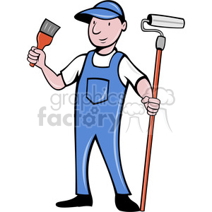 cartoon repairman handyman painter painting paint man guy paint+brush paint+roller overalls