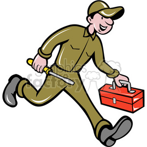 electrician repairman with toolbox clipart. Commercial use image # 388356
