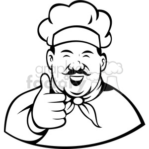 cartoon chef cook restaurant thumbs+up approved approval black+white