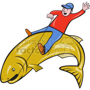 man riding a large fish clipart. Commercial use image # 388386