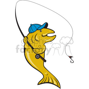 trout fishing side clipart. Commercial use image # 388434