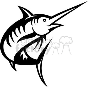 black and white swordfish facing left