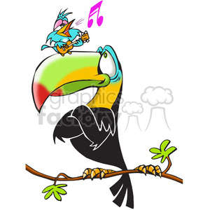 tucan bird singing small tree listening funny cartoon toucan