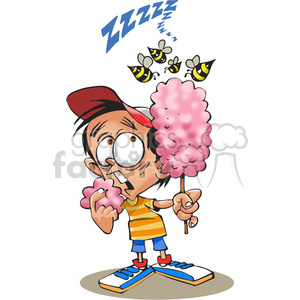 child eating cotton candy with bees flying around clipart. Royalty-free image # 388504