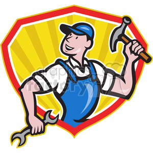 builder holding hammer and wrench clipart. Royalty-free image # 388624