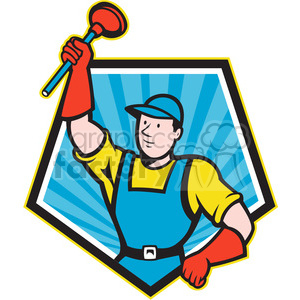 super plumber with plunger raised clipart. Royalty-free image # 388634