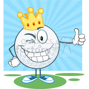 5722 Royalty Free Clip Art Winking Golf Ball Cartoon Character With Gold Crown Holding A Thumb Up clipart. Commercial use image # 388674