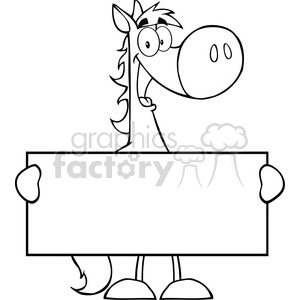 5684 Royalty Free Clip Art Horse Cartoon Mascot Character Holding A Banner copy clipart. Royalty-free image # 388684