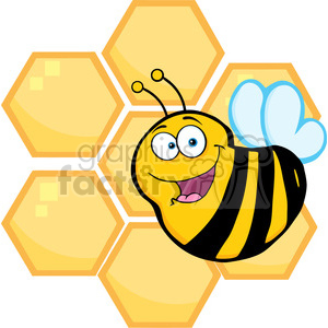 5591 Royalty Free Clip Art Happy Bee In Front Of A Orange Bee Hives clipart. Royalty-free image # 388694
