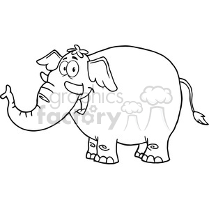 5620 Royalty Free Clip Art Happy Elephant Cartoon Mascot Character clipart. Commercial use image # 388704
