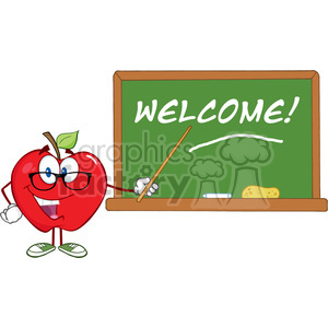 cartoon school education chalkboard teacher welcome funny apple apples fruit