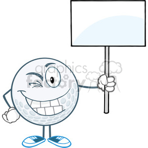 5732 Royalty Free Clip Art Winking Golf Ball Holding A Blank Sign clipart. Royalty-free image # 388724