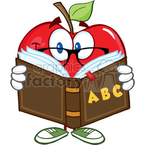 Smiling Apple Teacher Character Reading A Book clipart. Royalty-free image # 388734