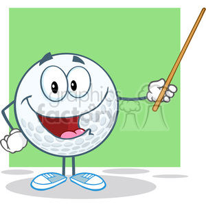 5750 Royalty Free Clip Art Smiling Golf Ball Holding A Pointer clipart. Royalty-free image # 388746
