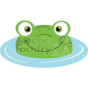 5655 Royalty Free Clip Art Cute Frog Smiling From Water clipart. Commercial use image # 388756