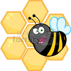 Happy Bumble Bee In Front Of A Orange Bee Hives clipart. Royalty-free image # 388766