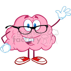 5810 Royalty Free Clip Art Smiling Brain Teacher Cartoon Character Waving For Greeting clipart. Commercial use image # 388776