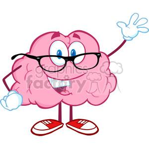 5810 Royalty Free Clip Art Smiling Brain Teacher Cartoon Character Waving For Greeting