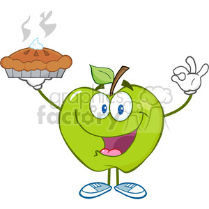 5806 Royalty Free Clip Art Happy Green Apple Character Holding Up A Pie clipart. Commercial use image # 388805