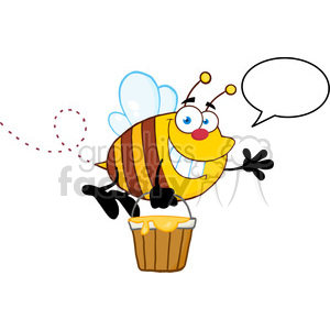 5578 Royalty Free Clip Art Smiling Bee Flying With A Honey Bucket And Speech Bubble clipart. Royalty-free image # 388815