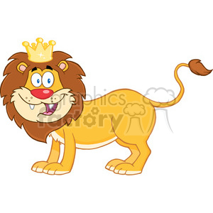 5634 Royalty Free Clip Art Happy Lion King Cartoon Mascot Character clipart. Royalty-free image # 388845