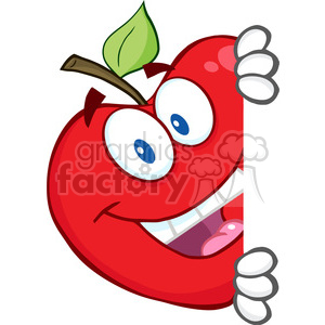 5799 Royalty Free Clip Art Smiling Red Apple Hiding Behind A Sign clipart. Commercial use image # 388854