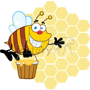 5580 Royalty Free Clip Art Smiling Bee Flying With A Honey Bucket In Front Of A Orange Bee Hives clipart. Commercial use image # 388856