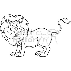 5631 Royalty Free Clip Art Happy Lion Cartoon Mascot Character clipart. Commercial use image # 388866