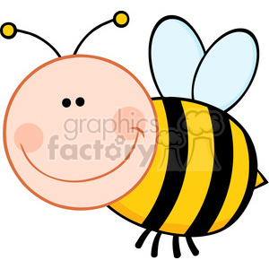 5595 Royalty Free Clip Art Smiling Bumble Bee Cartoon Mascot Character Flying clipart. Royalty-free image # 388876