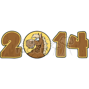 5672 royalty free clip art 2014 year cartoon numbers with horse face over a circle