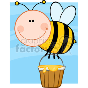 5603 Royalty Free Clip Art Smiling Bee Flying With A Honey Bucket animation. Royalty-free animation # 388896