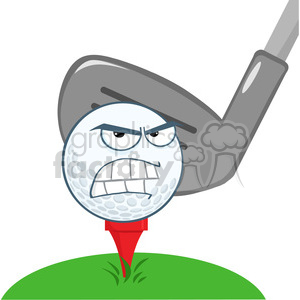 5709 Royalty Free Clip Art Angry Golf Ball Over Tee Going To Be Hit By Golf Club clipart. Royalty-free image # 388906