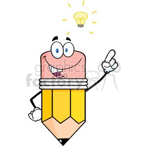 5928 Royalty Free Clip Art Pencil Cartoon Character With A Big Idea clipart. Commercial use image # 388916