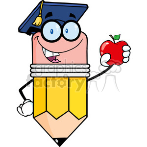 5946 Royalty Free Clip Art Pencil Teacher With Graduate Hat Holding A Red Apple clipart. Royalty-free image # 388926