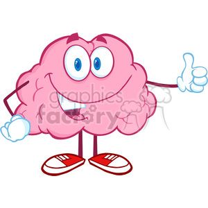 Royalty Free Clip Art Happy Brain Character Giving A Thumb Up clipart. Royalty-free image # 388936