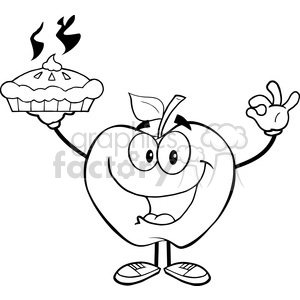 5971 Royalty Free Clip Art Happy Apple Character Holding Up A Pie clipart. Royalty-free image # 388956