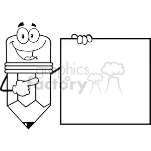 5903 Royalty Free Clip Art Happy Pencil Cartoon Character Showing A Blank Sign clipart. Royalty-free image # 388966