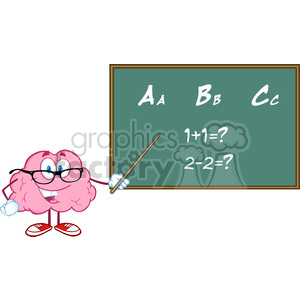 5817 Royalty Free Clip Art Smiling Brain Teacher Character With A Pointer In Front Of Chalkboard With Text ABC clipart. Royalty-free image # 388996