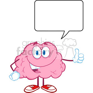 Royalty Free Clip Art Happy Brain Character Giving A Thumb Up Witch Speech Bubble clipart. Commercial use image # 389006