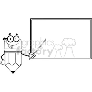 5881 Royalty Free Clip Art Smiling Pencil Teacher Character With A Pointer In Front Of Chalkboard