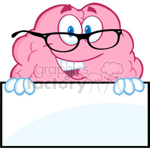 5853 Royalty Free Clip Art Smiling Brain Character With Glasses Over A Blank Sign clipart. Royalty-free image # 389036