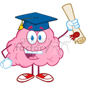 5845 Royalty Free Clip Art Happy Brain Character Graduate Holding up A Diploma clipart. Royalty-free image # 389046